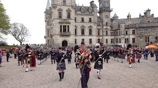 Massed Pipes & Drums of the Scottish Highlands gather at Dunrobin Castle in Sutherland April 2019