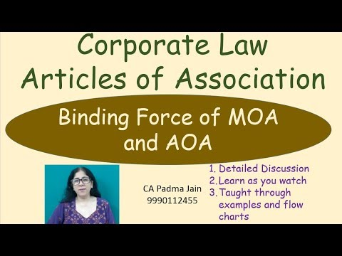 Binding Force of MOA and AOA. Articles of Association for CA CS CMA lawby CA Padma Jain
