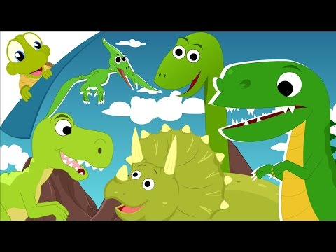Dinosaurs Song - Five Green Dinosaurs looking for the lunch