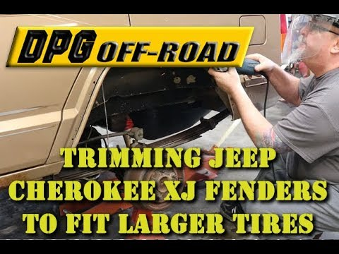 Trimming Jeep Cherokee XJ fender flares to fit larger tires.