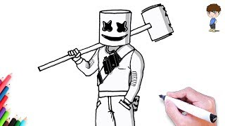 How to draw the Marshmello Fortnite step by Step easy – drawing to draw for children