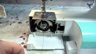 Как правильно заправить нитку в шпульку Швейная машинка JANOME 2055(Обзор показывает,как правильно заправить шпульку ниткой на швейной машинке и начать шить.Учимся шить.Для..., 2015-01-09T21:43:52.000Z)