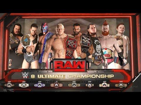 WWE 2K18 8 Titles On The Line - Lesnar vs Jinder vs Miz vs Kalisto vs Sheamus vs Rhyno vs Corbin