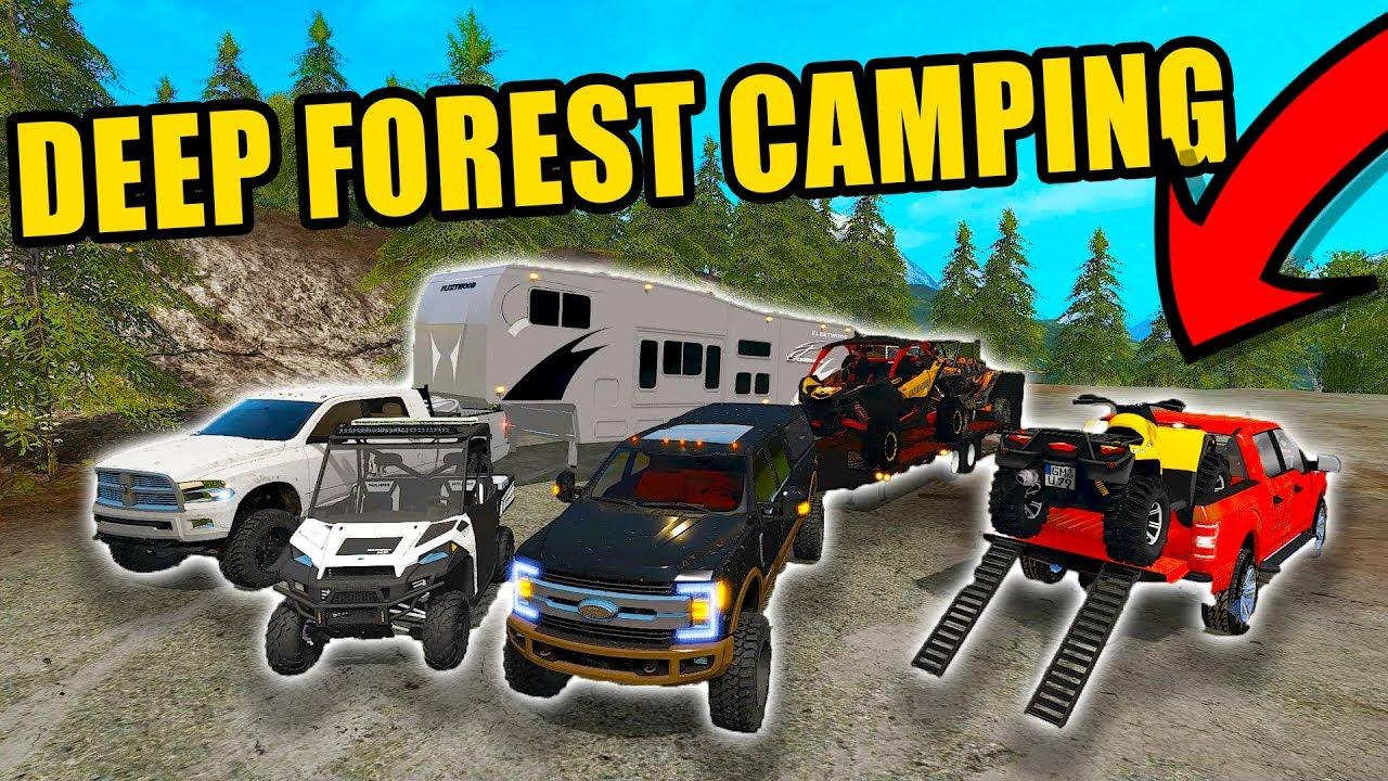 camping-in-muddy-lane-forest-new-polaris-ranger-2018-f-350-more-farming-simulator-2017