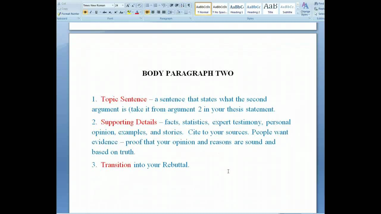 The Six Parts Of The Argumentative Research Paper YouTube