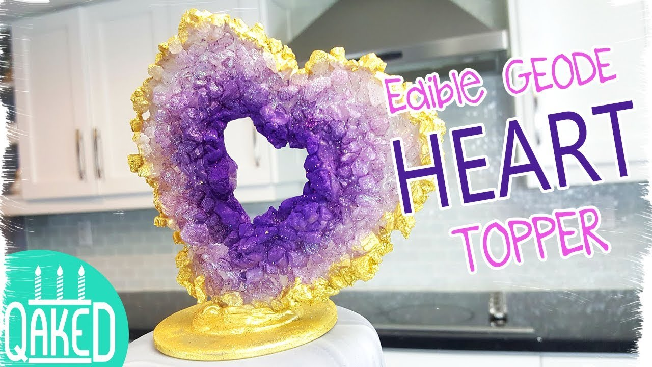 Geode Heart Cake Topper Tutorial | DIY & How to - YouTube