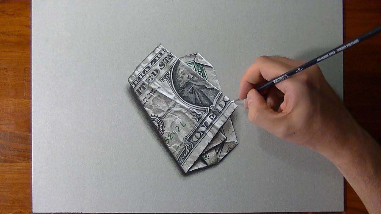 Disegno realistico in timelapse banconota da un dollaro for Disegno 3d free