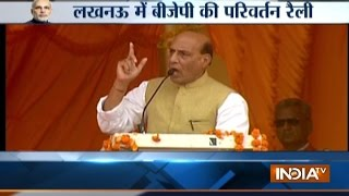 Home Minister Rajnath Singh addresses BJP Parivartan rally in Lucknow