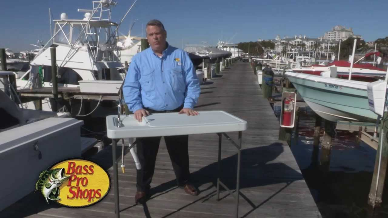 Bass pro shops folding processing table youtube for Fish cleaning table bass pro