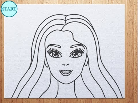 How to draw barbie face