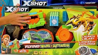 X-Shot Flying Bug Attack   Not A NERF Blaster Set, Unboxing, Review and Pretend Play