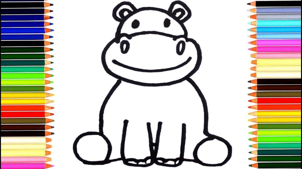 Как нарисовать бегемота / мультик раскраска бегемотик для ...