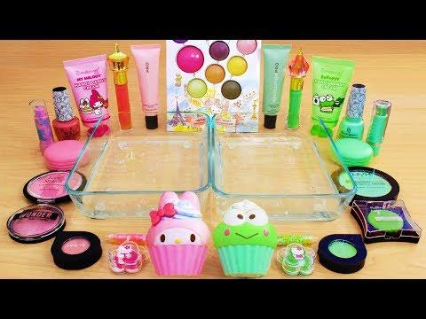 Pink Vs Mint - Mixing Makeup Eyeshadow Into Slime Special Series 132 Satisfying Slime Video