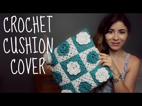 Crochet Cushion Cover with Flowers | Handmade House Decoration | step by step TUTORIAL