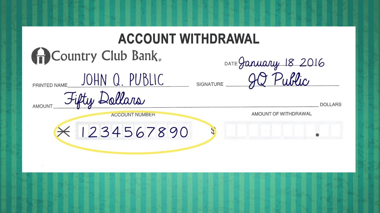 Filling out a withdrawal slip youtube ccuart Choice Image