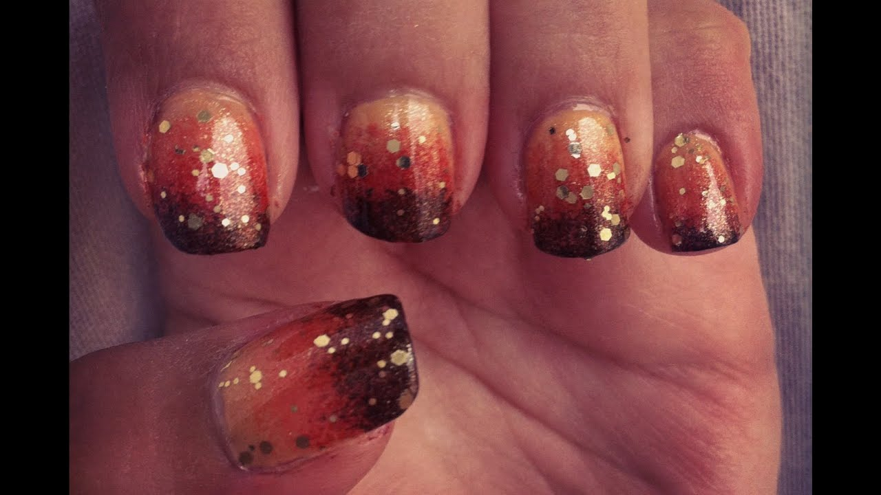 Gradient Ombre Nails from orange to brown (unghie gradiente ...