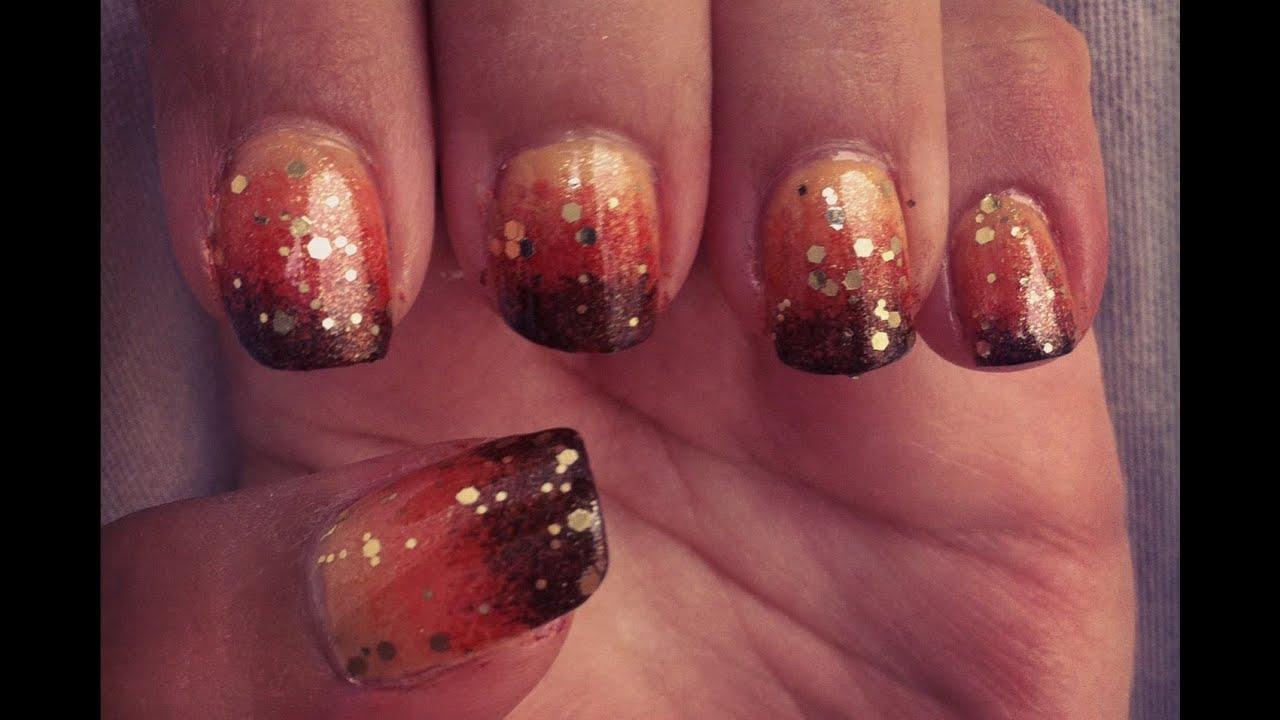 gradient ombre nails orange