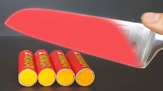 EXPERIMENT Glowing 1000 degree KNIFE VS FIRECRACKERS