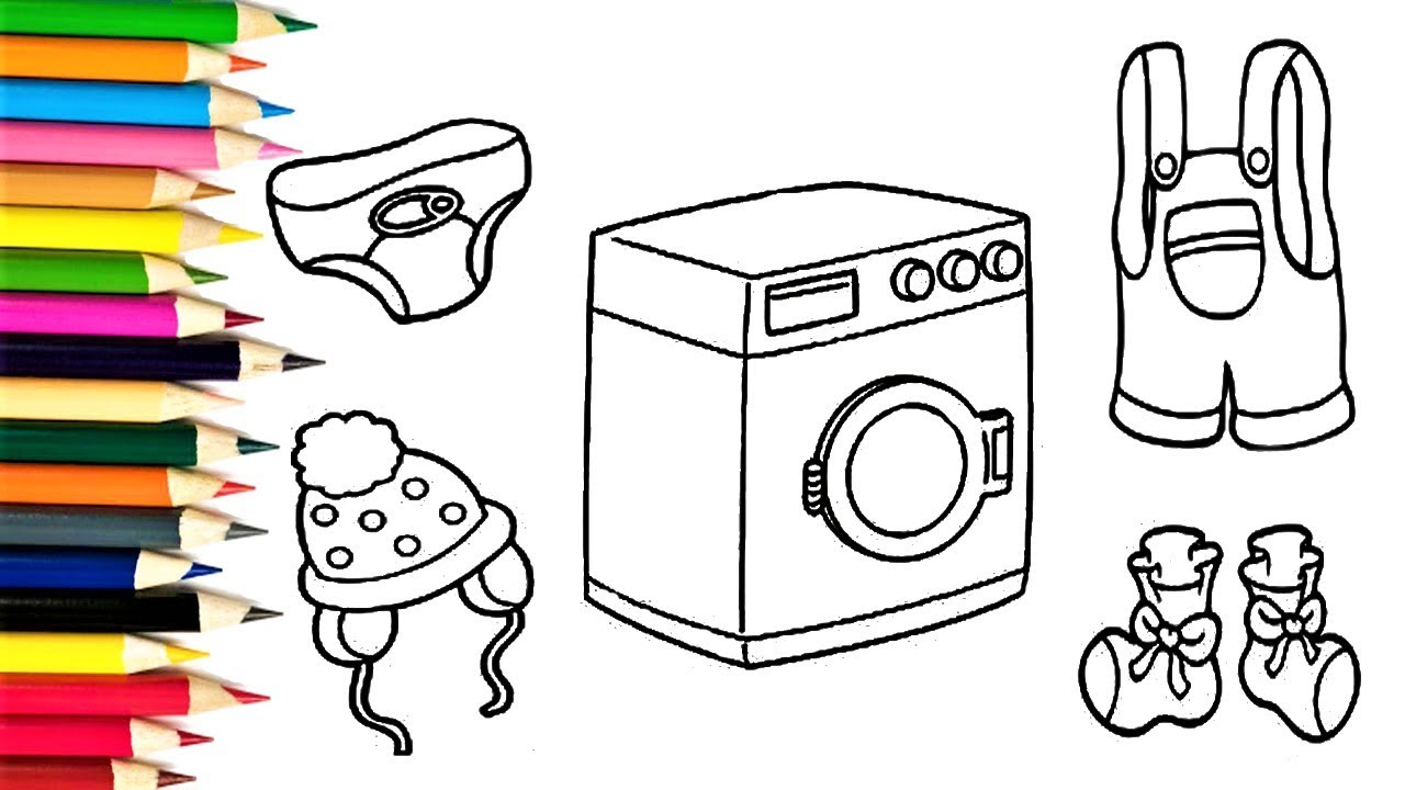 how to draw washing machine and clothes for baby coloring book