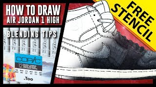 HOW TO DRAW: Air Jordan 1 Step by Step w/ FREE Stencil