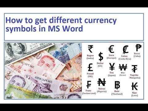 How to get currency symbols in MS Word