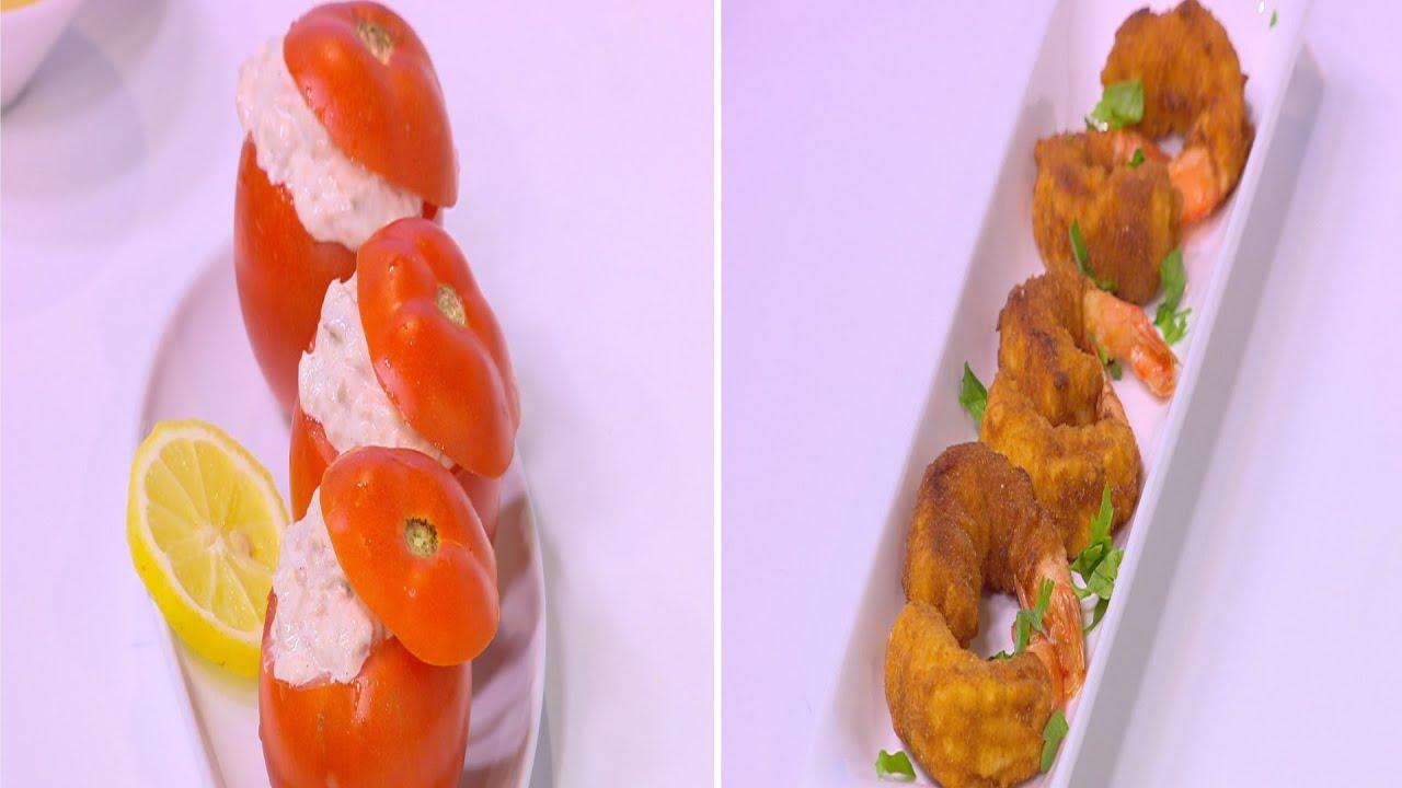 جمبري مقلي بصوص العسل و المستردة - سلطة طماطم محشية تونة : شبكة و صنارة حلقة كاملة