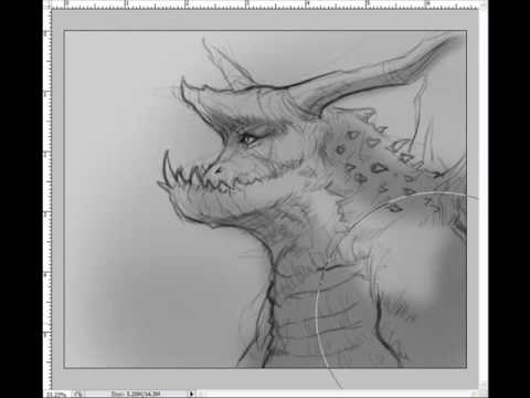 Creature Concept Art Line Drawing