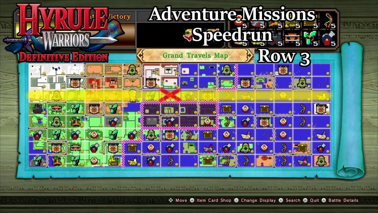 Hyrule Warriors Definitive Edition Adventure Mode Speedrun Grand Travels Map Row 3 Youtube