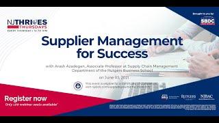 NJTT #005: Supplier Management for Success