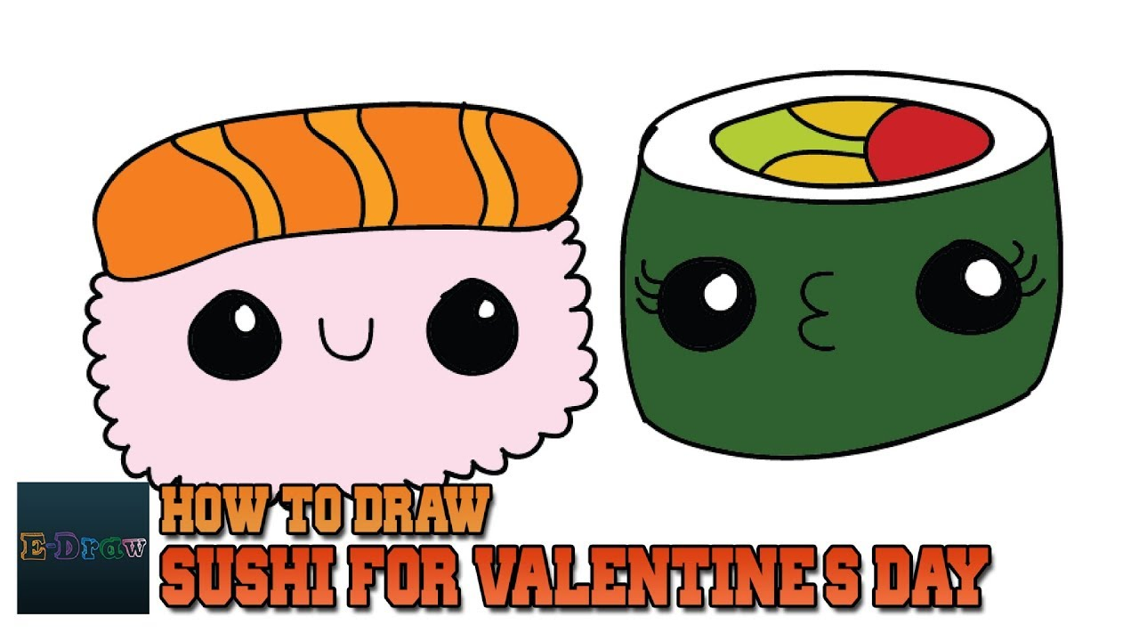 How To Draw Cartoon Sushi For Valentine\'s Day! Step By Step For Kids ...