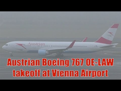 Austrian Airlines 767 taxiing & takeoff at Vienna Airport | OE-LAW