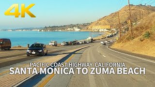[4K] Driving Pacific Coast Highway - Santa Monica Beach to Zuma Beach, Morning Drive, California