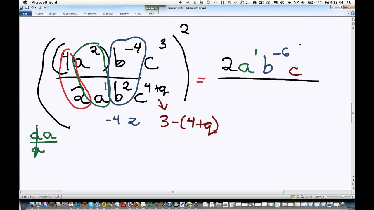 Simplifying Fractions And Exponents