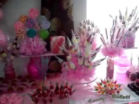 Banquetes s nchez bonita mesa de postres de boda youtube for Mesa de postres para boda