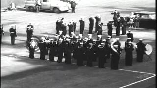 Admiral Stump, Admiral Halsey and Navy Secretary Thomas at the commissioning cere...HD Stock Footage