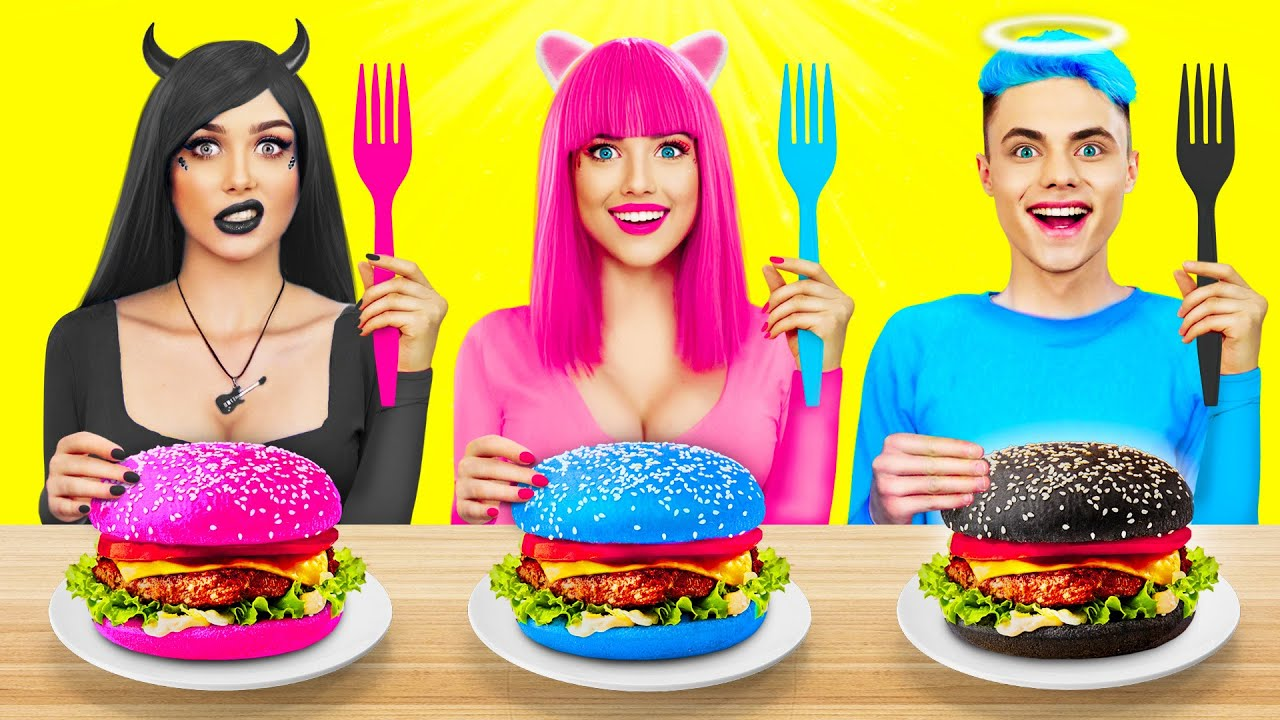 Pink VS Black VS Blue Food Challenge | Mukbang with Color Food and Yummies by RATATA