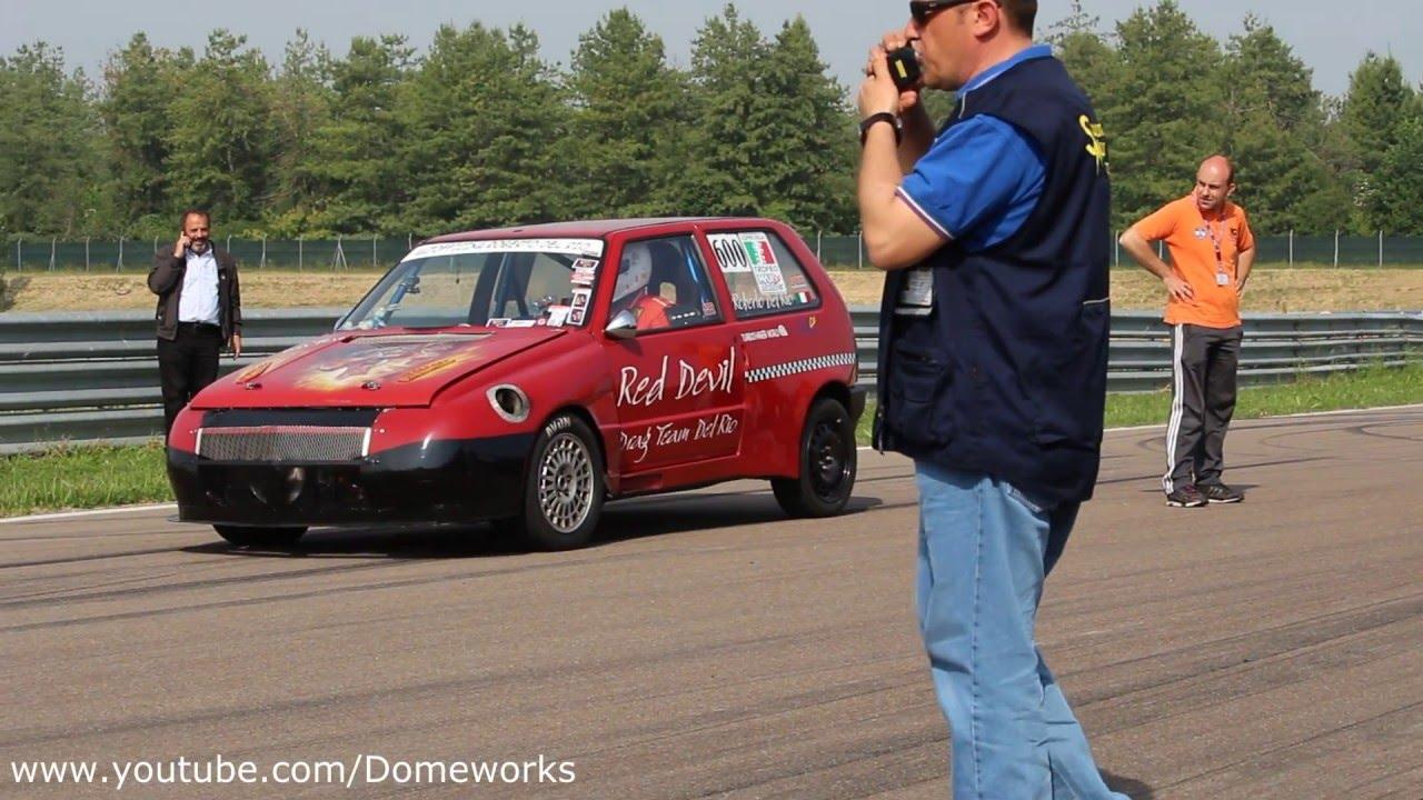 fiat uno turbo red devil vs porsche 993 twin turbo - drag race