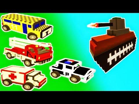 Emergency Vehicles, a School Bus & a Tank in Demolition Derby for Kids |