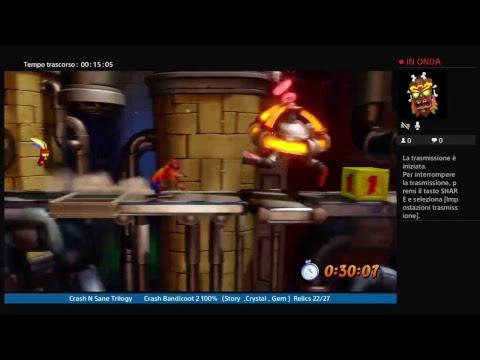 Crash N Sane Trilogy  Crash Bandicoot 2 100% (Story ,Crystal , Gem)    Relics 22/27