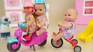 Baby doll bike toys and slide play