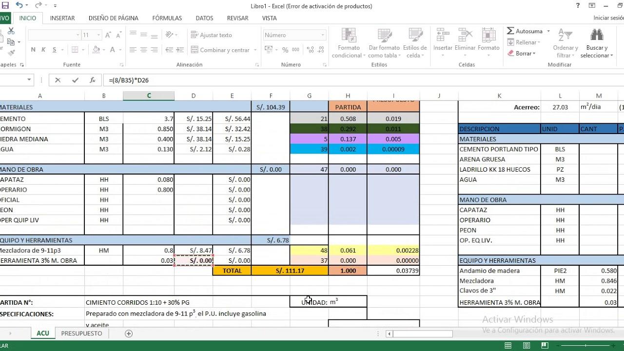 costos y presupuestos en la construccion youtube