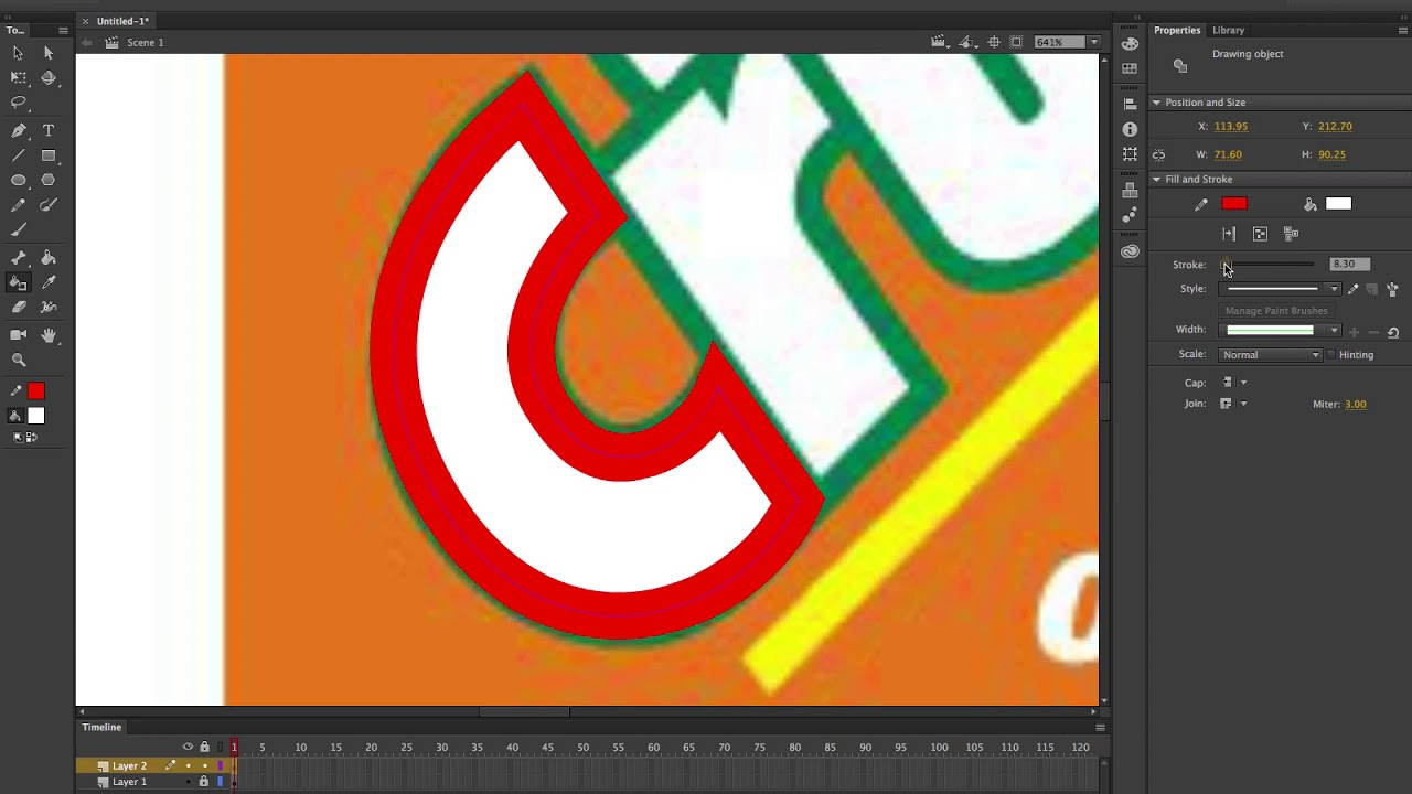 Drawing outer stroke in Adobe Animate