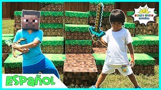 MINECRAFT En la vida real Steve vs Ryan's World Minecraft Surprise Toys Hunt