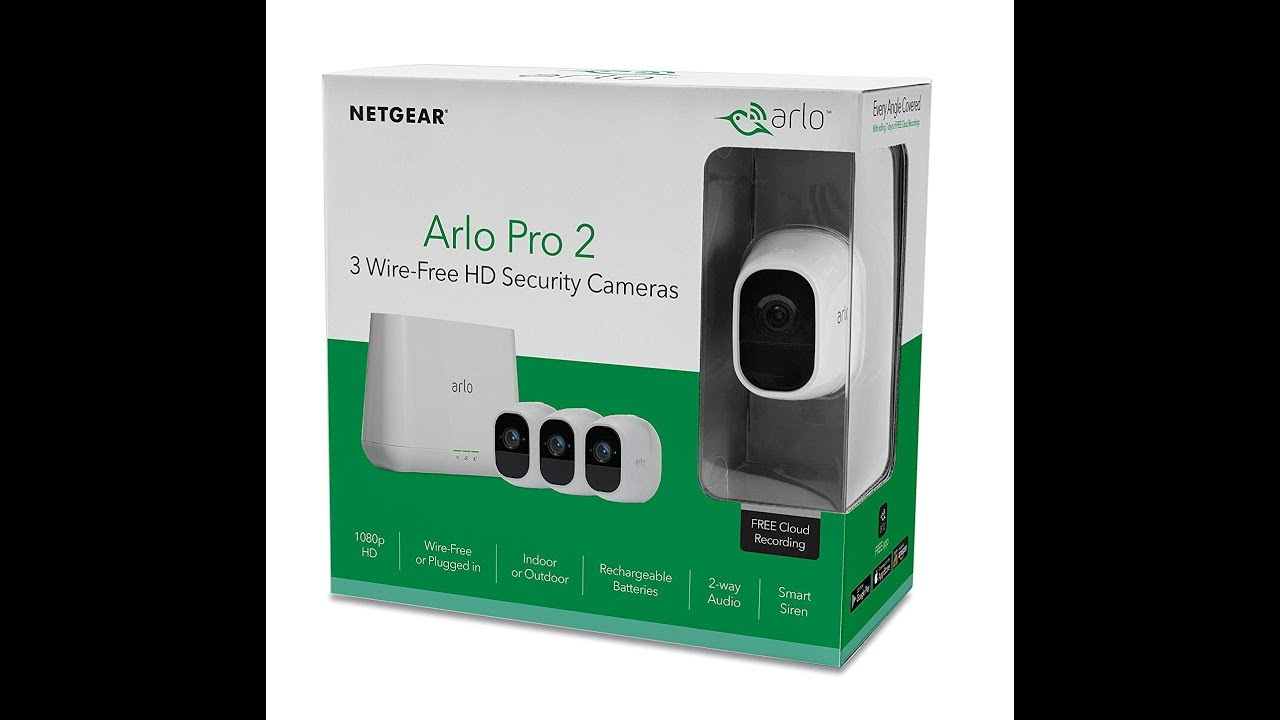 Arlo Pro 2 Home Security Camera System 3 pack with Siren, Wireless,  Rechargeable, 1080p