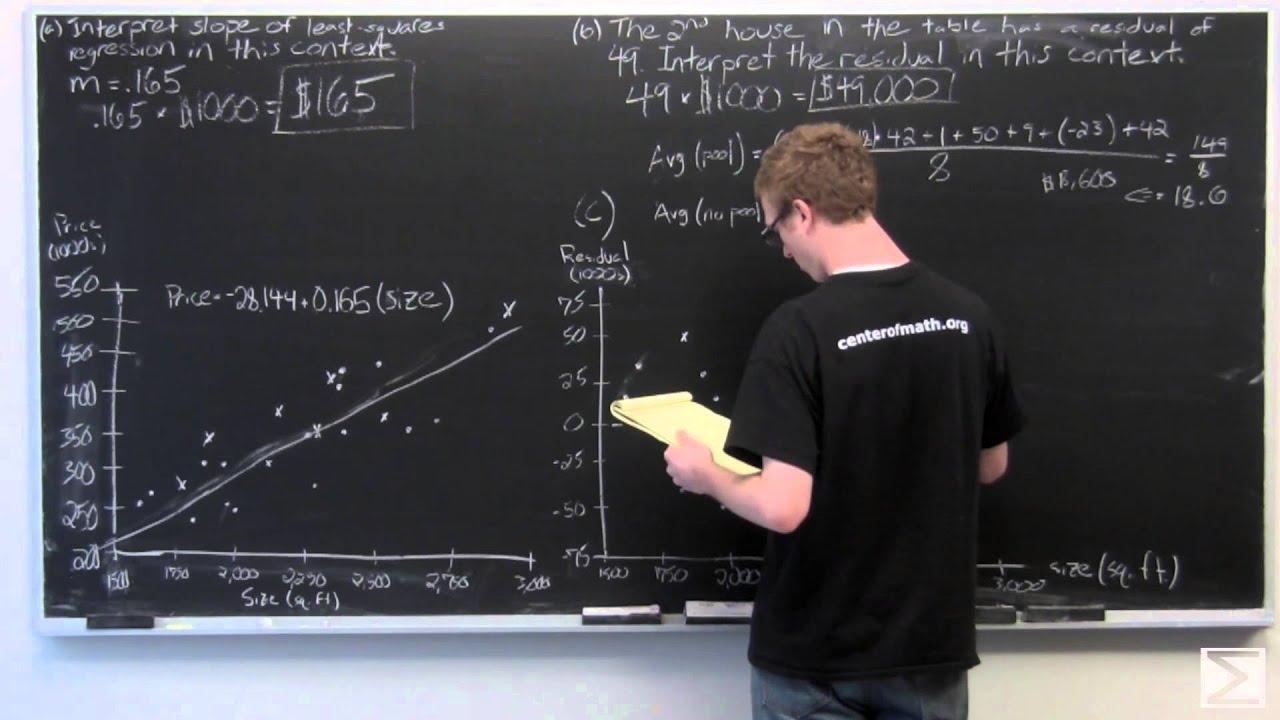 2010 ap statistics frq 6 regression and residuals