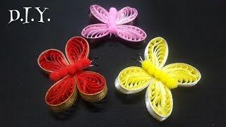 D.I.Y. Ribbon Quilled Butterfly – Borboleta de fita – Inglês