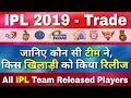 IPL 2019 : List of all IPL Release Players
