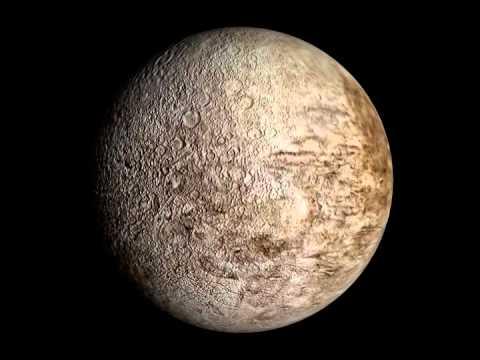 Rotation 3D de Miranda, satellite de la planète Uranus ...