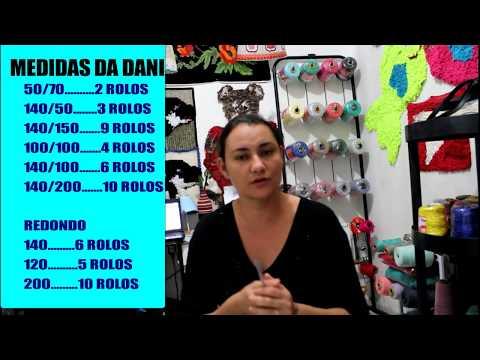 MEDIDAS  TAPETE TALAGARÇA E QUANTIDADE DE BARBANTE