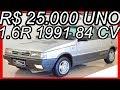 PASTORE R$ 25.000 #Fiat Uno 1.6R 1991 Prata aro 13 FWD MT5 84 cv 13,2 kgfm 165 kmh 0-100 kmh 11,4 s